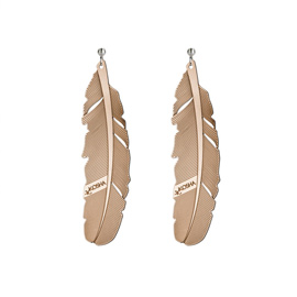Earrings 1 feather - 65mm Red Gold
