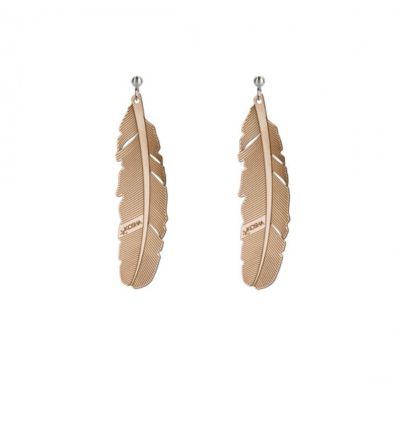 Earrings 1 feather - 50mm Red Gold