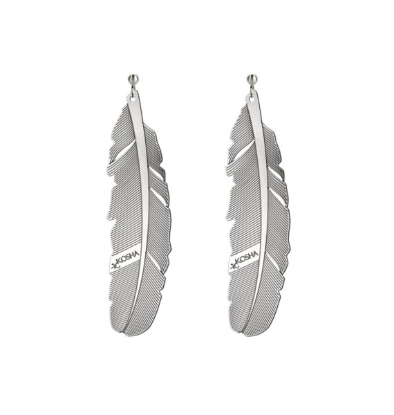 Earrings 1 feather - 65mm Stainless Steel