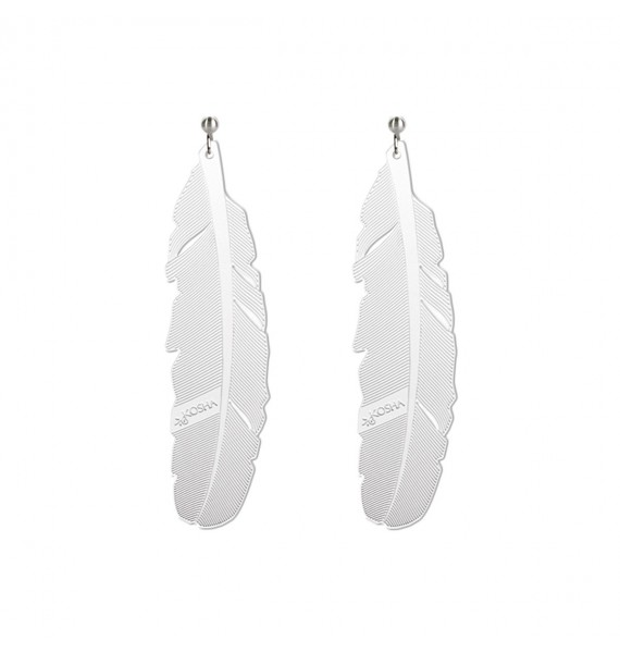 Earrings 1 feather - 65mm White