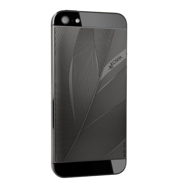 FEATHER Black Gold - Engraved metal plate for iphone 5/5s