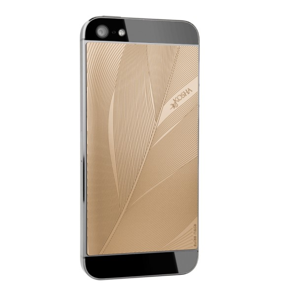 FEATHER Red Gold - Engraved metal plate for iphone 5/5s