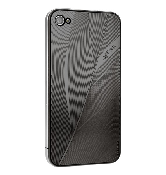 FEATHER Black Gold - Engraved metal plate for iphone 4/4s