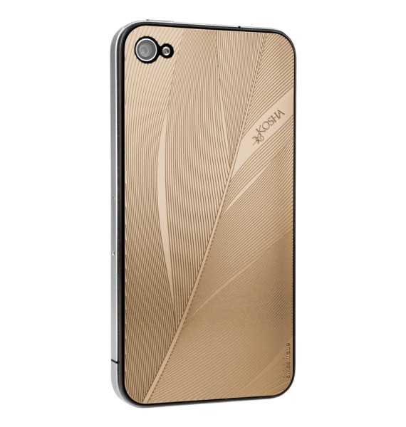 FEATHER Red Gold - Engraved metal plate for iphone 4/4s