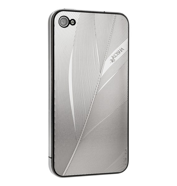 FEATHER Stainless Steel - Engraved metal plate for iphone 4/4s